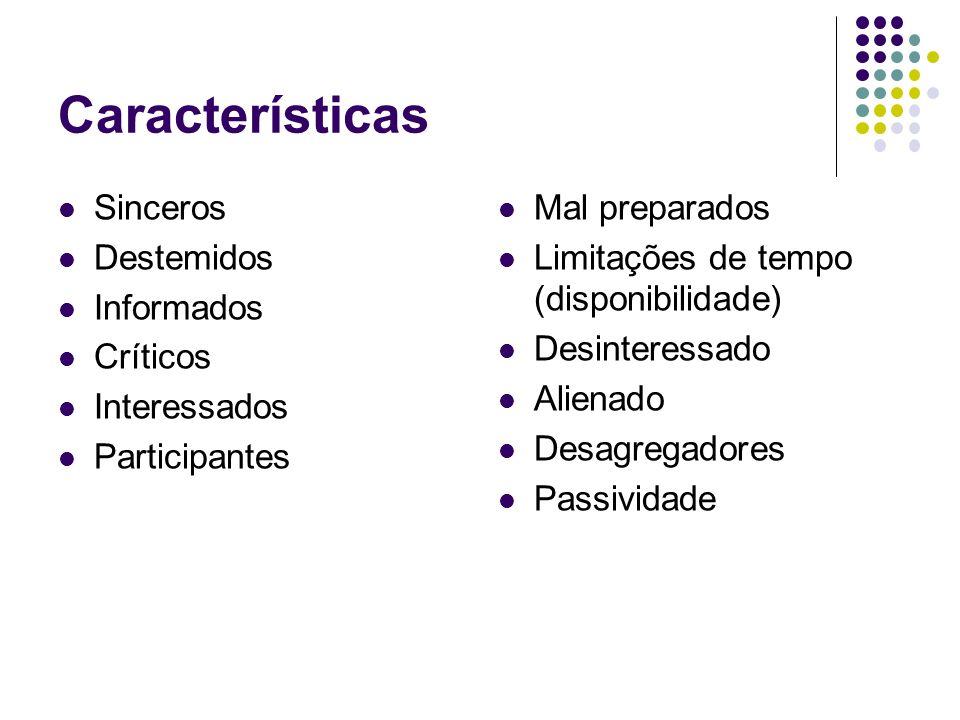 Características Sinceros Destemidos Informados Críticos Interessados Participantes Mal preparados Limitações de tempo (disponibilidade) Desinteressado Alienado Desagregadores Passividade