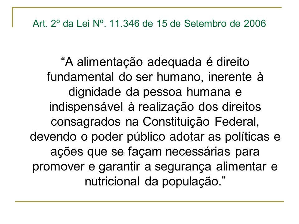 Art. 2º da Lei Nº. 11.346 de 15 de Setembro de 2006 A alimentação adequada é direito fundamental do ser humano, inerente à dignidade da pessoa humana
