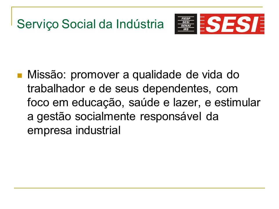 Serviço Social da Indústria Missão: promover a qualidade de vida do trabalhador e de seus dependentes, com foco em educação, saúde e lazer, e estimula