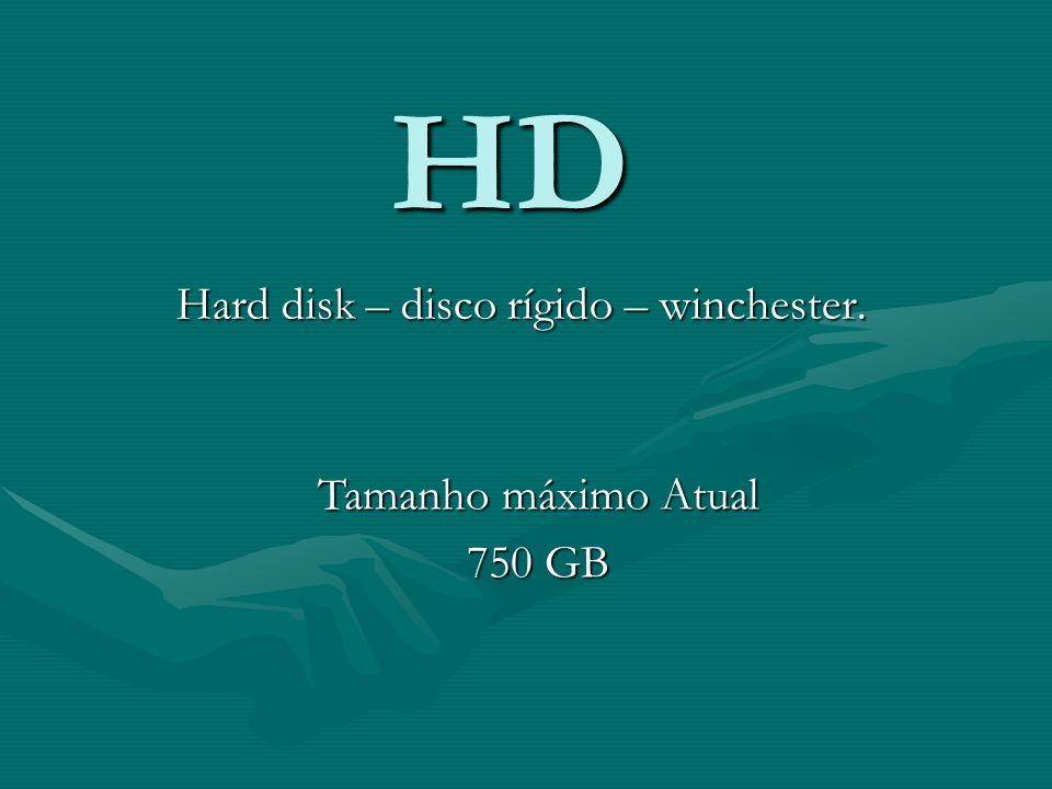 HD Hard disk – disco rígido – winchester. Tamanho máximo Atual 750 GB
