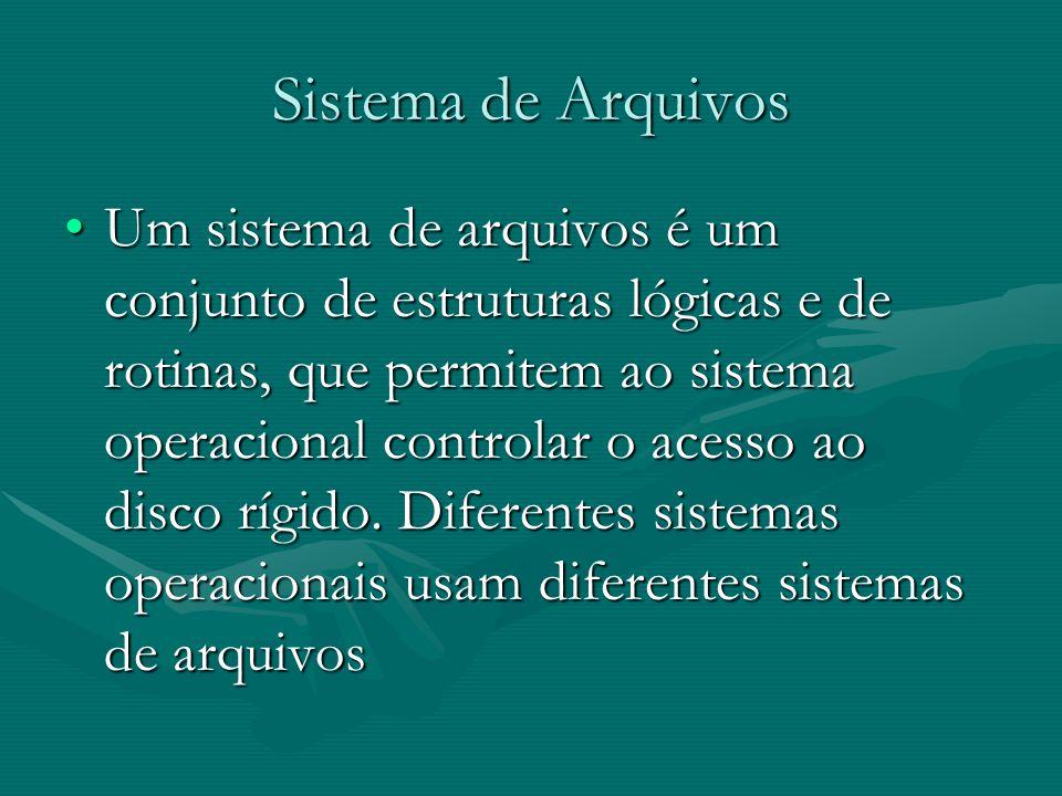 Sistema de Arquivos Um sistema de arquivos é um conjunto de estruturas lógicas e de rotinas, que permitem ao sistema operacional controlar o acesso ao