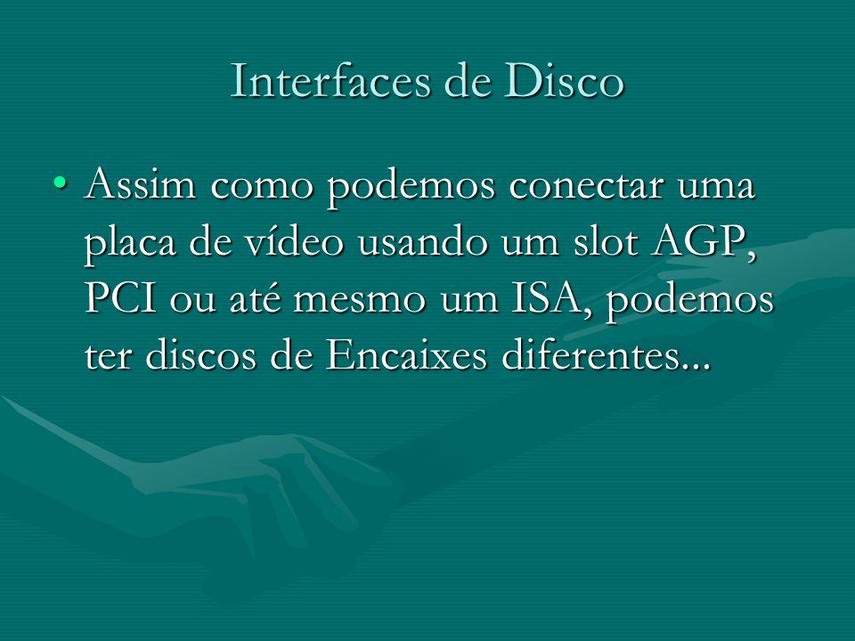 Interfaces de Disco Assim como podemos conectar uma placa de vídeo usando um slot AGP, PCI ou até mesmo um ISA, podemos ter discos de Encaixes diferen