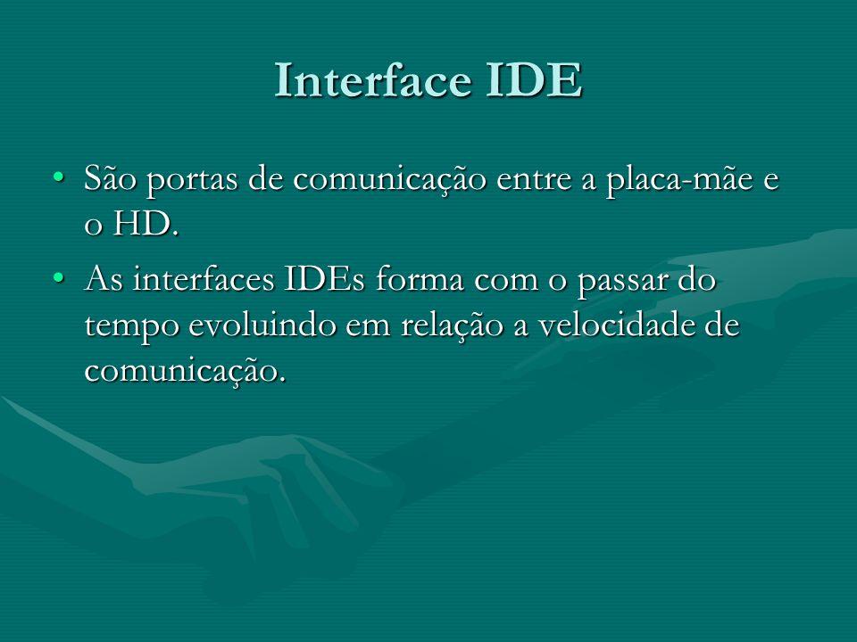 Interface IDE São portas de comunicação entre a placa-mãe e o HD.São portas de comunicação entre a placa-mãe e o HD. As interfaces IDEs forma com o pa