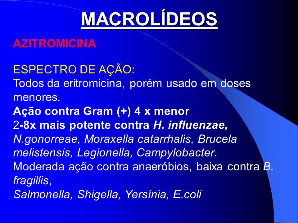 MACROLÍDEOS AZITROMICINA ESPECTRO DE AÇÃO: Todos da eritromicina, porém usado em doses menores. Ação contra Gram (+) 4 x menor 2-8x mais potente contr