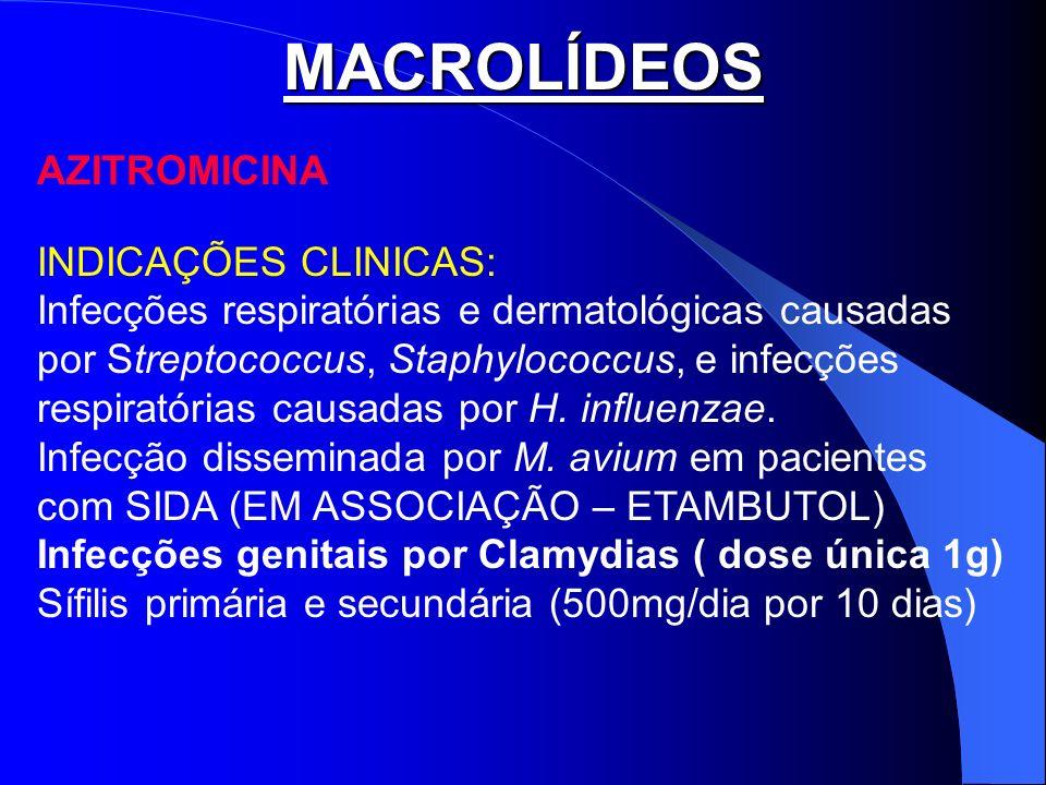 MACROLÍDEOS AZITROMICINA INDICAÇÕES CLINICAS: Infecções respiratórias e dermatológicas causadas por Streptococcus, Staphylococcus, e infecções respira