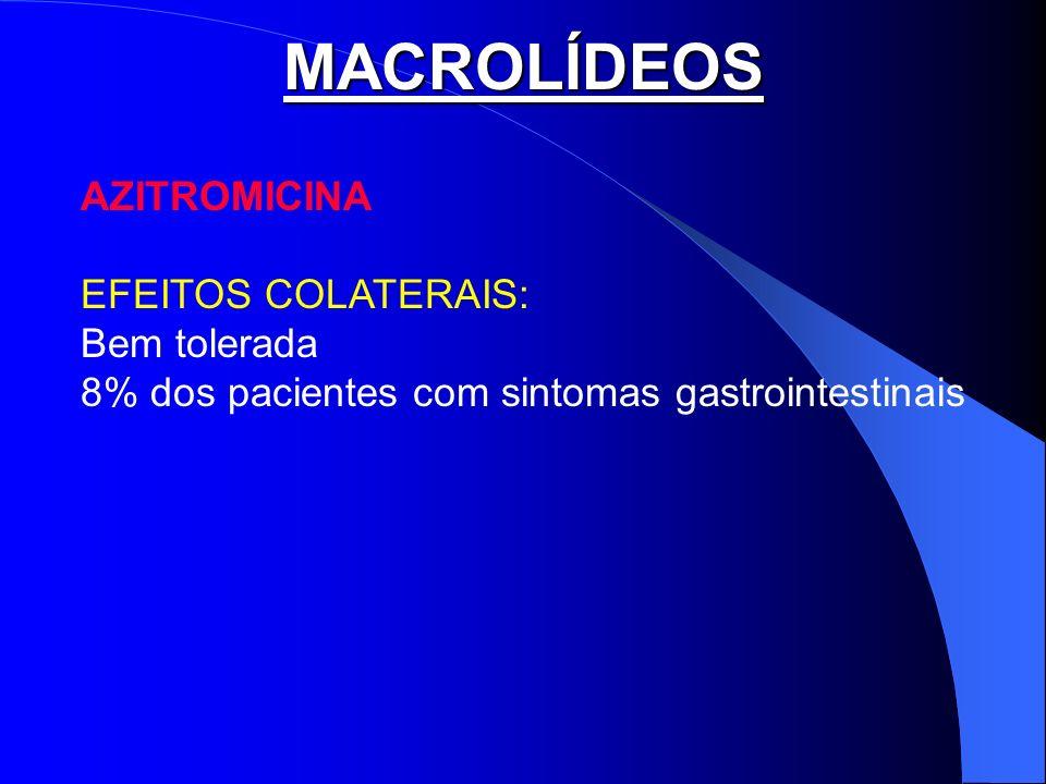 MACROLÍDEOS AZITROMICINA EFEITOS COLATERAIS: Bem tolerada 8% dos pacientes com sintomas gastrointestinais