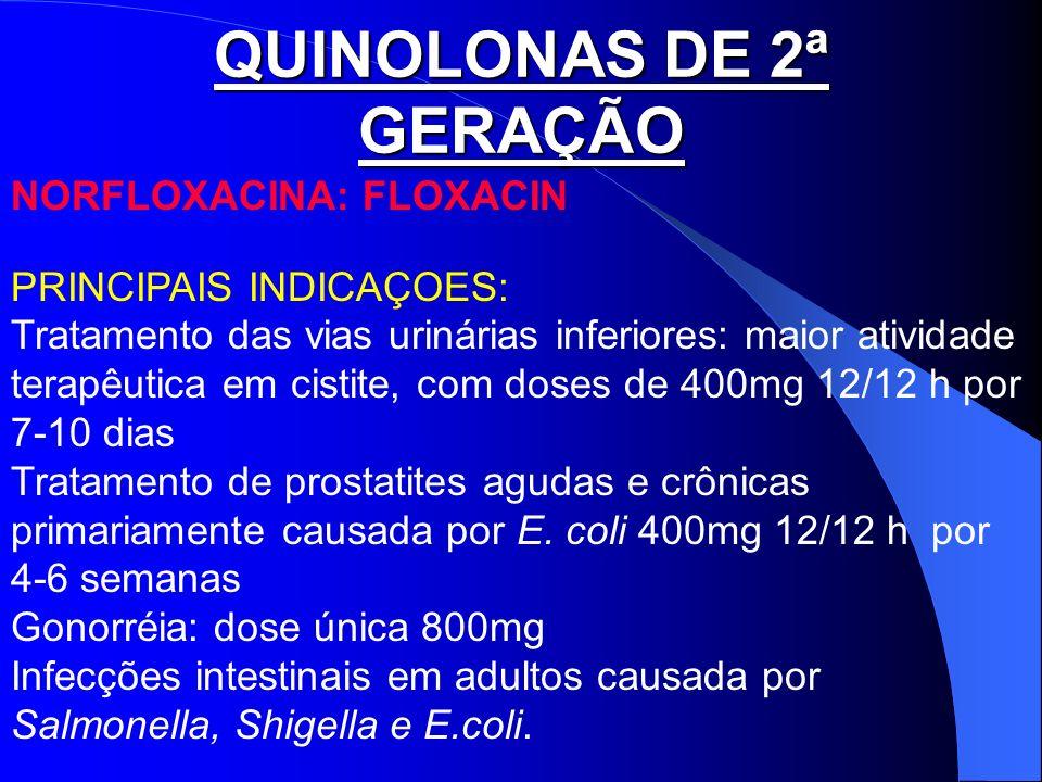 QUINOLONAS DE 2ª GERAÇÃO NORFLOXACINA: FLOXACIN PRINCIPAIS INDICAÇOES: Tratamento das vias urinárias inferiores: maior atividade terapêutica em cistit