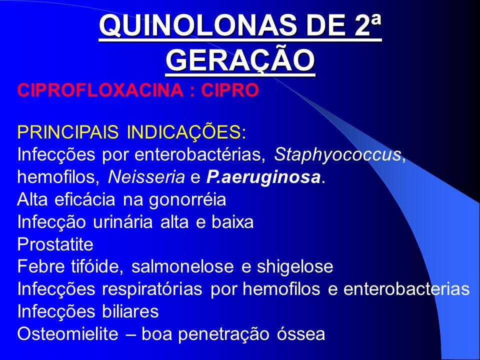 QUINOLONAS DE 2ª GERAÇÃO CIPROFLOXACINA : CIPRO PRINCIPAIS INDICAÇÕES: Infecções por enterobactérias, Staphyococcus, hemofilos, Neisseria e P.aerugino