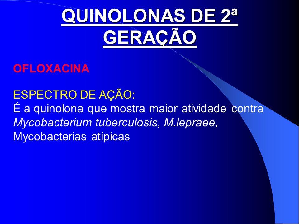 QUINOLONAS DE 2ª GERAÇÃO OFLOXACINA ESPECTRO DE AÇÃO: É a quinolona que mostra maior atividade contra Mycobacterium tuberculosis, M.lepraee, Mycobacte