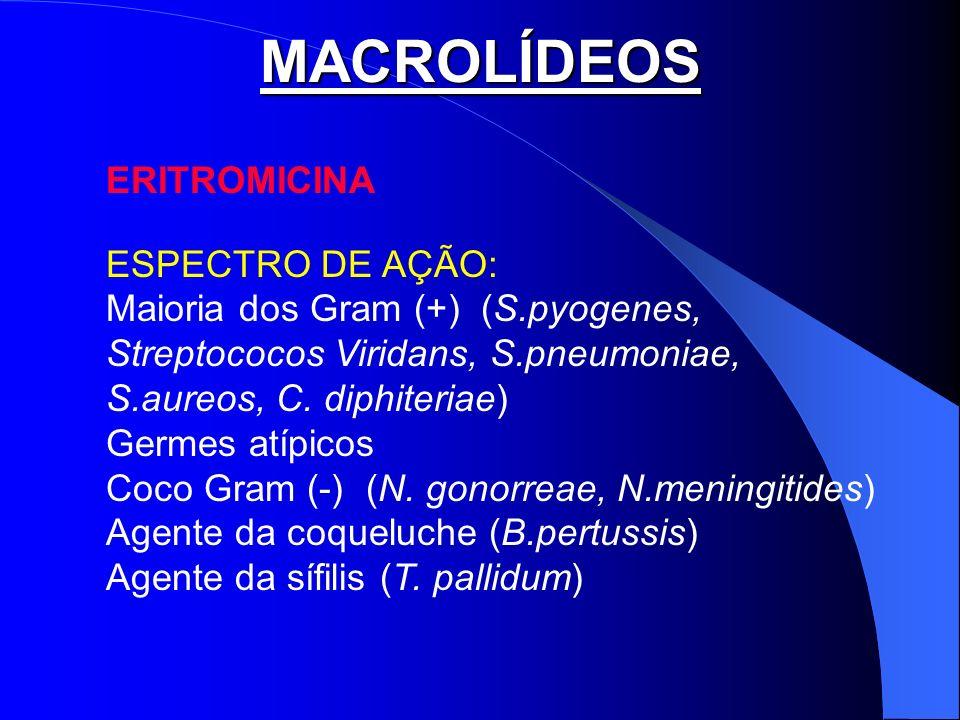 MACROLÍDEOS ERITROMICINA ESPECTRO DE AÇÃO: Maioria dos Gram (+) (S.pyogenes, Streptococos Viridans, S.pneumoniae, S.aureos, C. diphiteriae) Germes atí