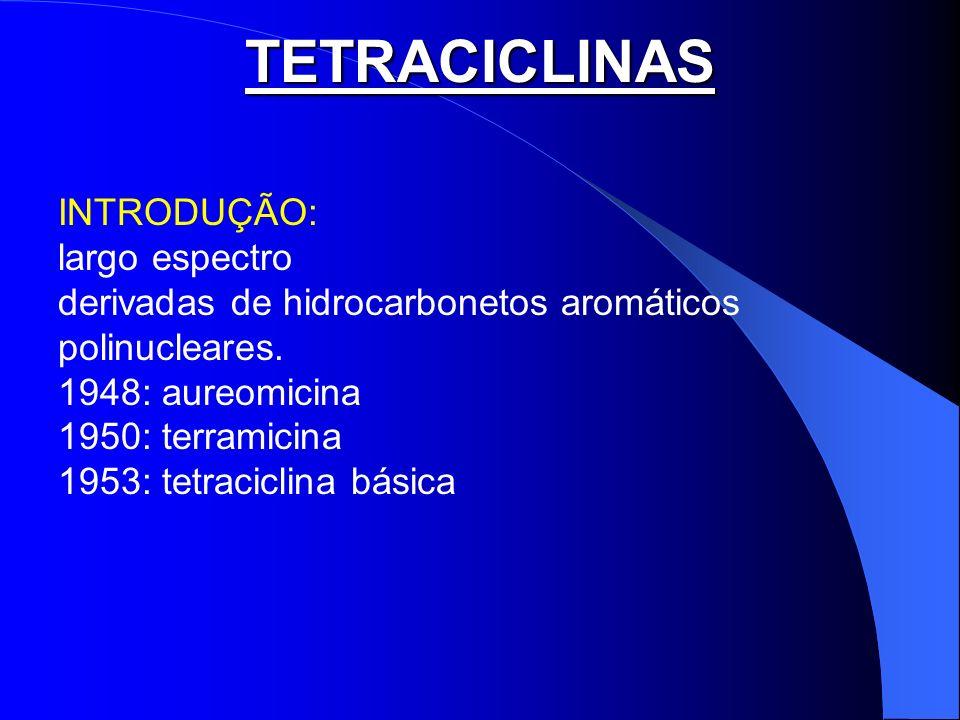 TETRACICLINAS INTRODUÇÃO: largo espectro derivadas de hidrocarbonetos aromáticos polinucleares. 1948: aureomicina 1950: terramicina 1953: tetraciclina