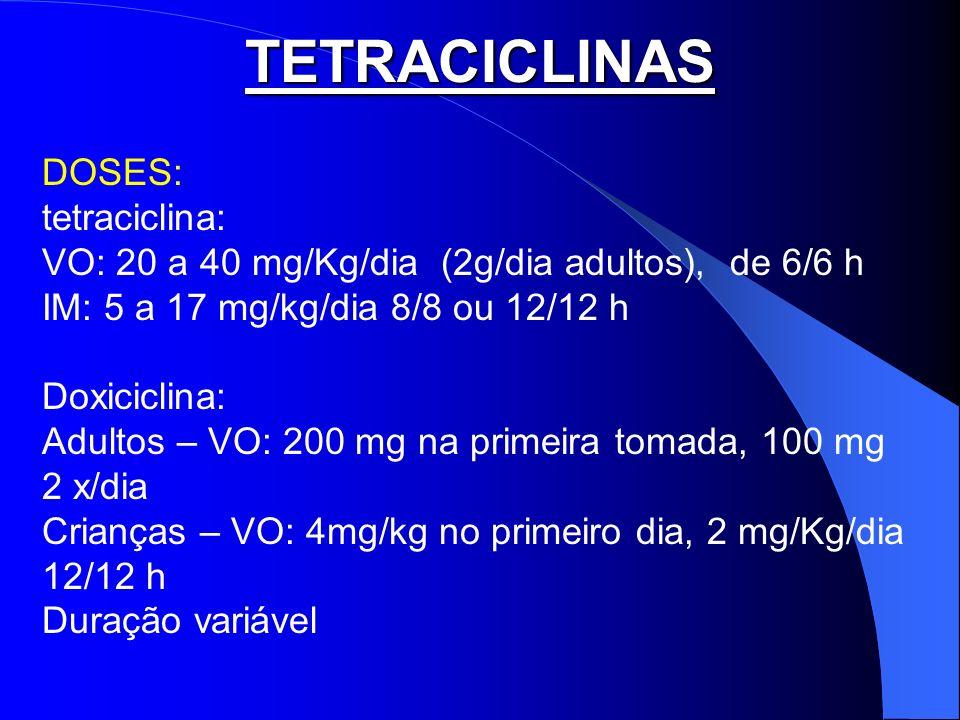 TETRACICLINAS DOSES: tetraciclina: VO: 20 a 40 mg/Kg/dia (2g/dia adultos), de 6/6 h IM: 5 a 17 mg/kg/dia 8/8 ou 12/12 h Doxiciclina: Adultos – VO: 200