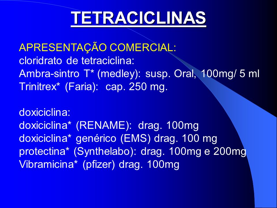 TETRACICLINAS APRESENTAÇÃO COMERCIAL: cloridrato de tetraciclina: Ambra-sintro T* (medley): susp. Oral, 100mg/ 5 ml Trinitrex* (Faria): cap. 250 mg. d