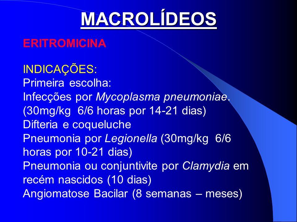 MACROLÍDEOS ERITROMICINA INDICAÇÕES: Primeira escolha: Infecções por Mycoplasma pneumoniae. (30mg/kg 6/6 horas por 14-21 dias) Difteria e coqueluche P