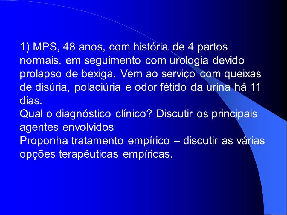 1) MPS, 48 anos, com história de 4 partos normais, em seguimento com urologia devido prolapso de bexiga. Vem ao serviço com queixas de disúria, polaci