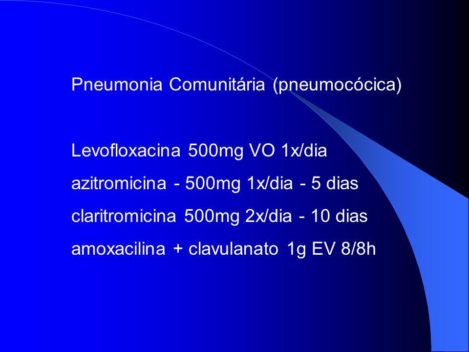 Pneumonia Comunitária (pneumocócica) Levofloxacina 500mg VO 1x/dia azitromicina - 500mg 1x/dia - 5 dias claritromicina 500mg 2x/dia - 10 dias amoxacil