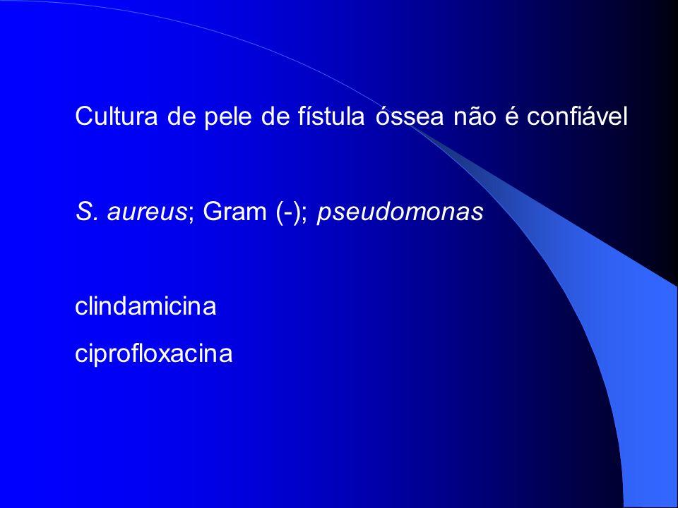 Cultura de pele de fístula óssea não é confiável S. aureus; Gram (-); pseudomonas clindamicina ciprofloxacina