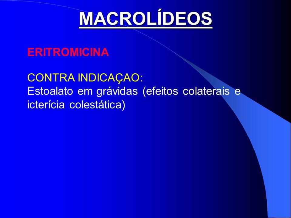 MACROLÍDEOS ERITROMICINA CONTRA INDICAÇAO: Estoalato em grávidas (efeitos colaterais e icterícia colestática)