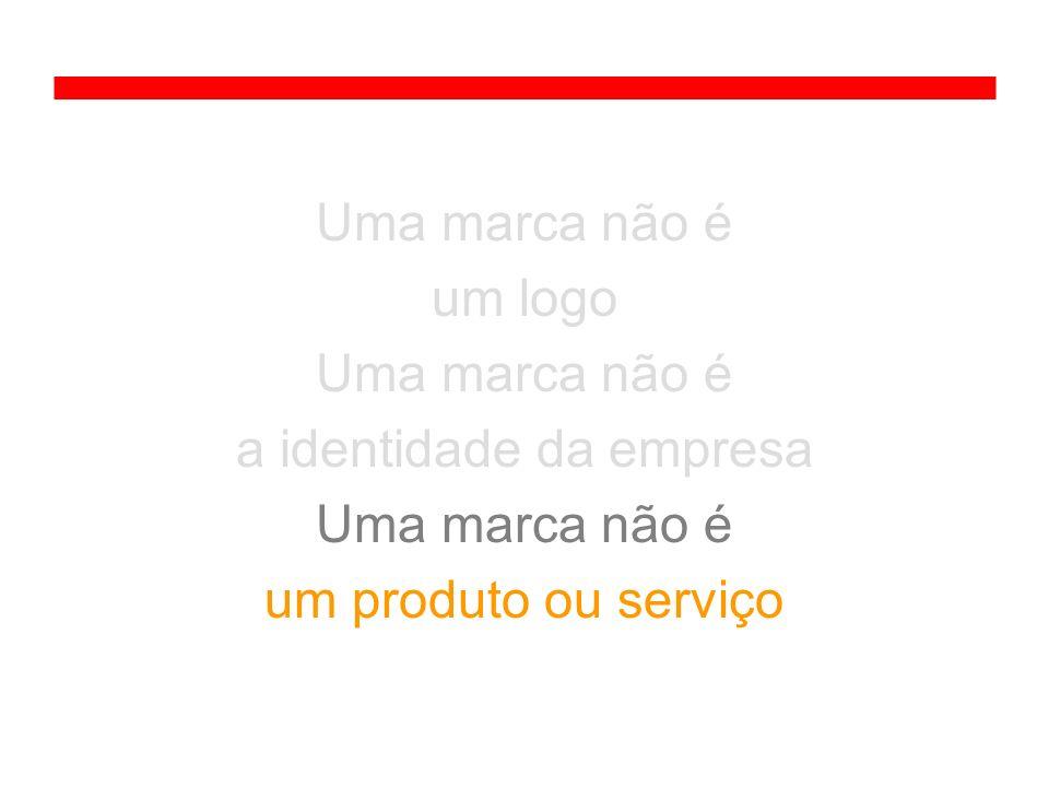 Uma marca não é um logo Uma marca não é a identidade da empresa Uma marca não é um produto ou serviço