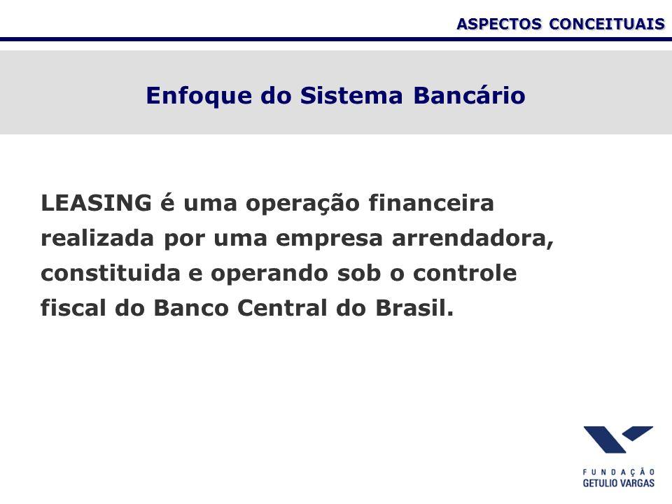 ASPECTOS CONCEITUAIS LEASING é uma operação financeira realizada por uma empresa arrendadora, constituida e operando sob o controle fiscal do Banco Ce