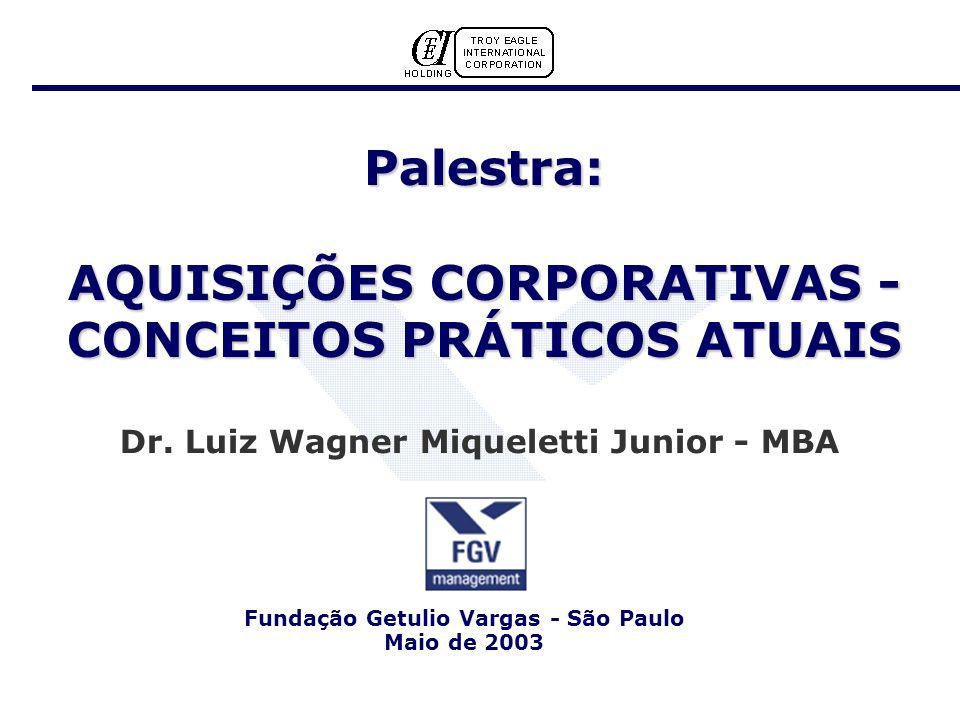 Palestra: AQUISIÇÕES CORPORATIVAS - CONCEITOS PRÁTICOS ATUAIS Dr.