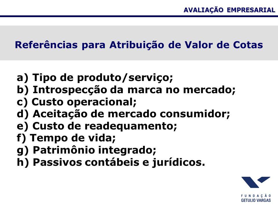 AVALIAÇÃO EMPRESARIAL Referências para Atribuição de Valor de Cotas a) Tipo de produto/serviço; b) Introspecção da marca no mercado; c) Custo operacional; d) Aceitação de mercado consumidor; e) Custo de readequamento; f) Tempo de vida; g) Patrimônio integrado; h) Passivos contábeis e jurídicos.