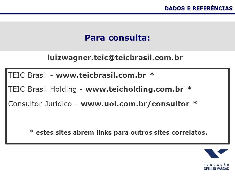 DADOS E REFERÊNCIAS Para consulta: TEIC Brasil - www.teicbrasil.com.br * TEIC Brasil Holding - www.teicholding.com.br * Consultor Jurídico - www.uol.com.br/consultor * * estes sites abrem links para outros sites correlatos.