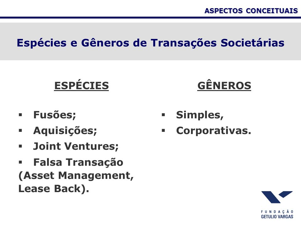 ASPECTOS CONCEITUAIS ESPÉCIES Fusões; Aquisições; Joint Ventures; Falsa Transação (Asset Management, Lease Back).