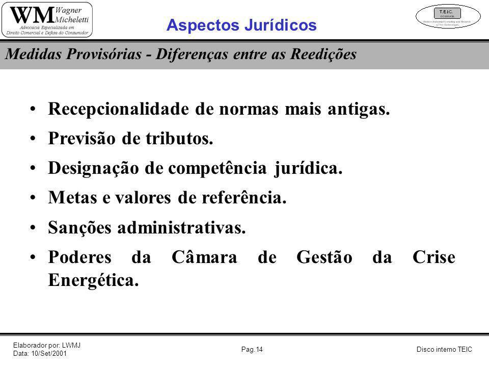 Pag.14 Recepcionalidade de normas mais antigas. Previsão de tributos. Designação de competência jurídica. Metas e valores de referência. Sanções admin