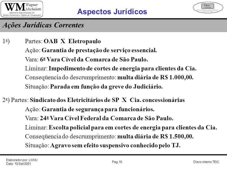 Pag.16 1 a ) Partes: OAB X Eletropaulo Ação: Garantia de prestação de serviço essencial. Vara: 6 a Vara Cível da Comarca de São Paulo. Liminar: Impedi