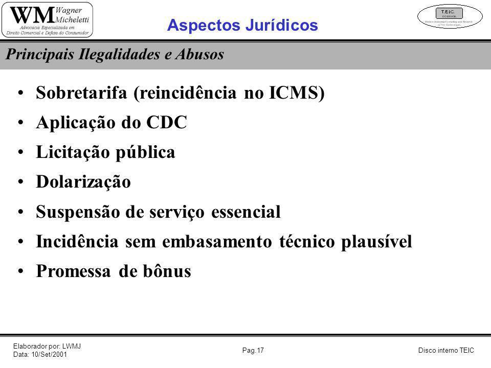 Pag.17 Sobretarifa (reincidência no ICMS) Aplicação do CDC Licitação pública Dolarização Suspensão de serviço essencial Incidência sem embasamento téc