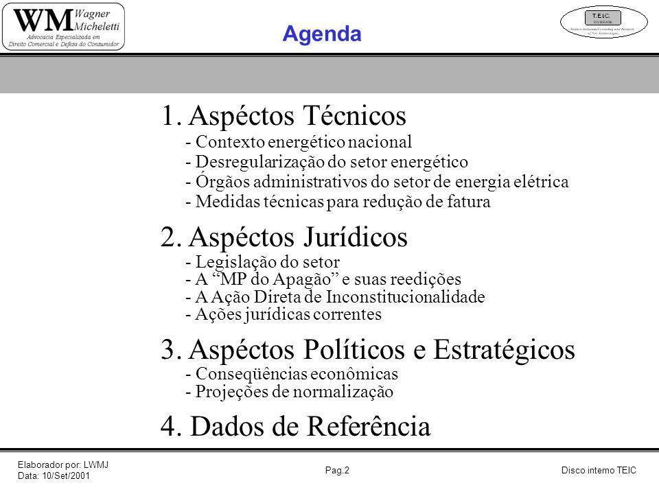 Pag.2 Agenda 1. Aspéctos Técnicos - Contexto energético nacional - Desregularização do setor energético - Órgãos administrativos do setor de energia e