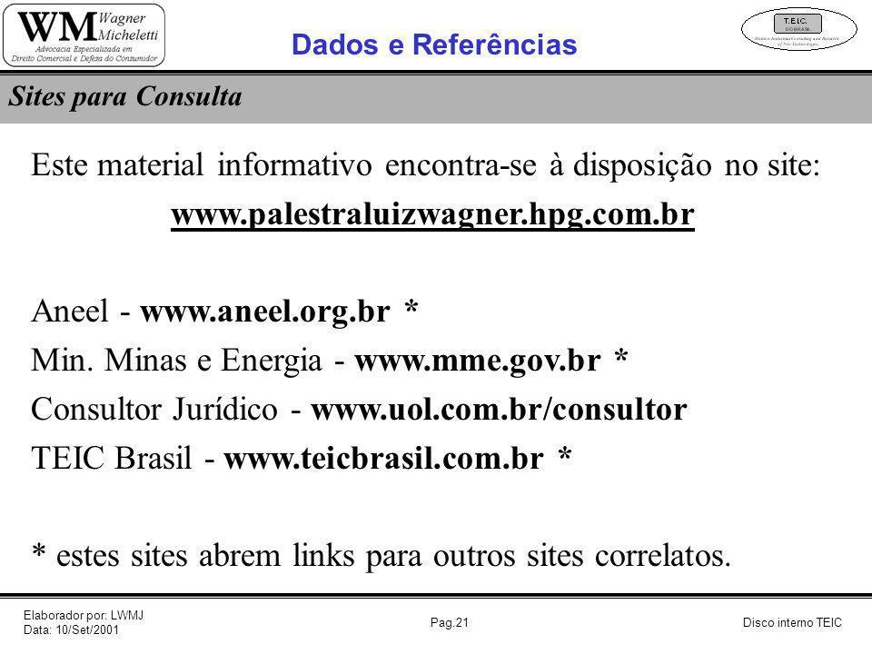 Pag.21 Este material informativo encontra-se à disposição no site: www.palestraluizwagner.hpg.com.br Aneel - www.aneel.org.br * Min. Minas e Energia -