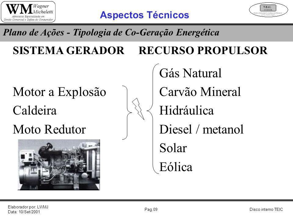 Pag.09Disco interno TEIC Plano de Ações - Tipologia de Co-Geração Energética SISTEMA GERADOR RECURSO PROPULSOR Gás Natural Motor a ExplosãoCarvão Mine