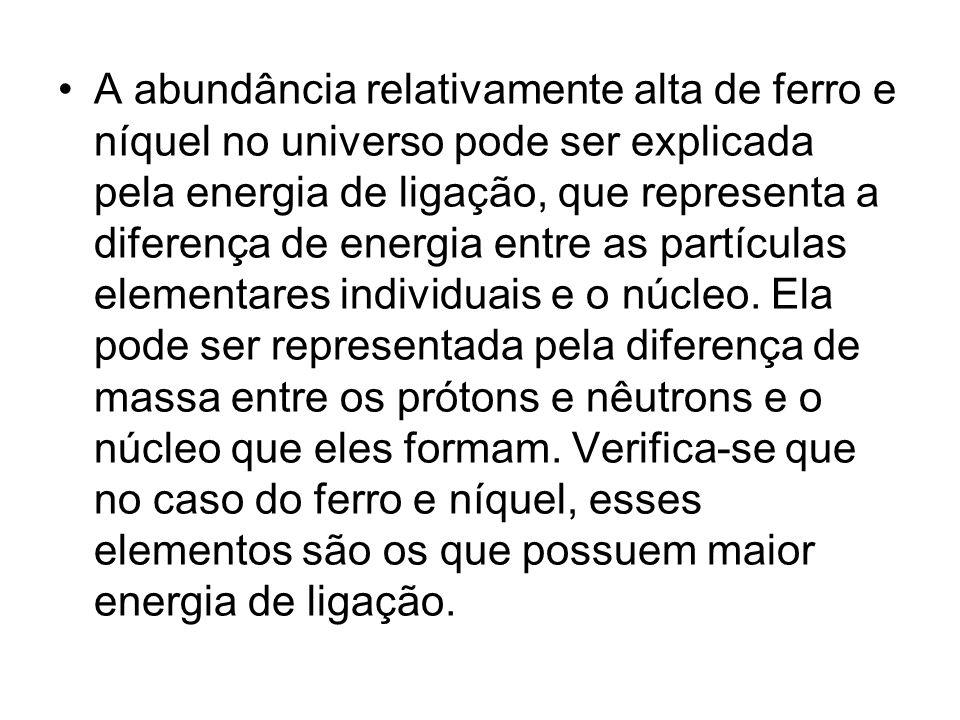 A abundância relativamente alta de ferro e níquel no universo pode ser explicada pela energia de ligação, que representa a diferença de energia entre as partículas elementares individuais e o núcleo.