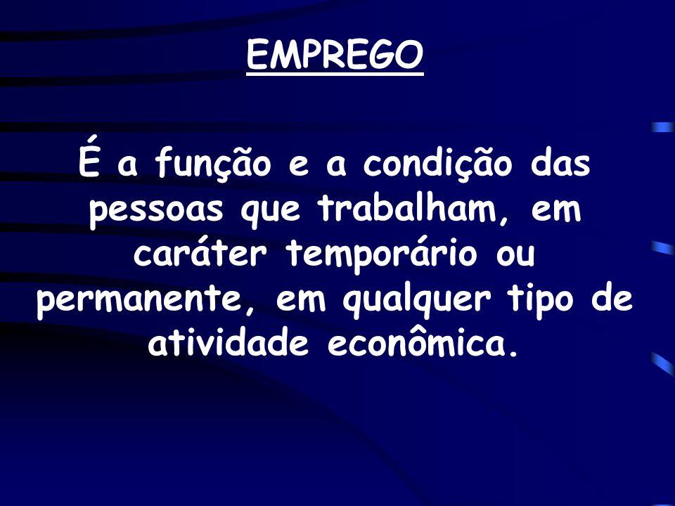 EMPREGO É a função e a condição das pessoas que trabalham, em caráter temporário ou permanente, em qualquer tipo de atividade econômica.