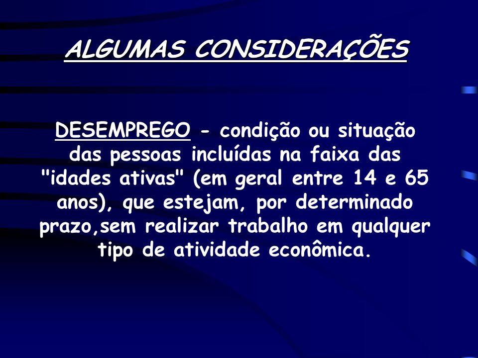 ALGUMAS CONSIDERAÇÕES DESEMPREGO - condição ou situação das pessoas incluídas na faixa das