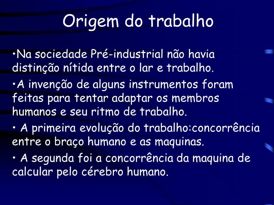 Origem do trabalho Na sociedade Pré-industrial não havia distinção nítida entre o lar e trabalho. A invenção de alguns instrumentos foram feitas para