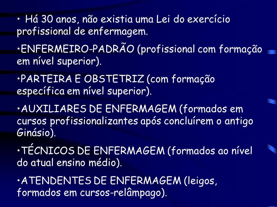Há 30 anos, não existia uma Lei do exercício profissional de enfermagem. ENFERMEIRO-PADRÃO (profissional com formação em nível superior). PARTEIRA E O