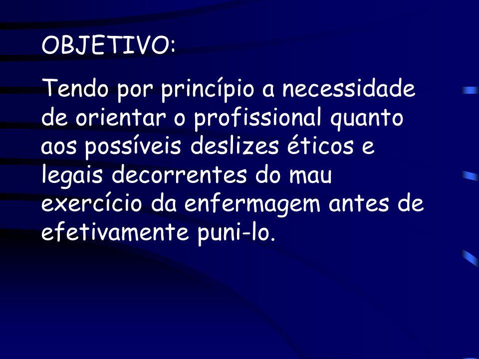 OBJETIVO: Tendo por princípio a necessidade de orientar o profissional quanto aos possíveis deslizes éticos e legais decorrentes do mau exercício da e