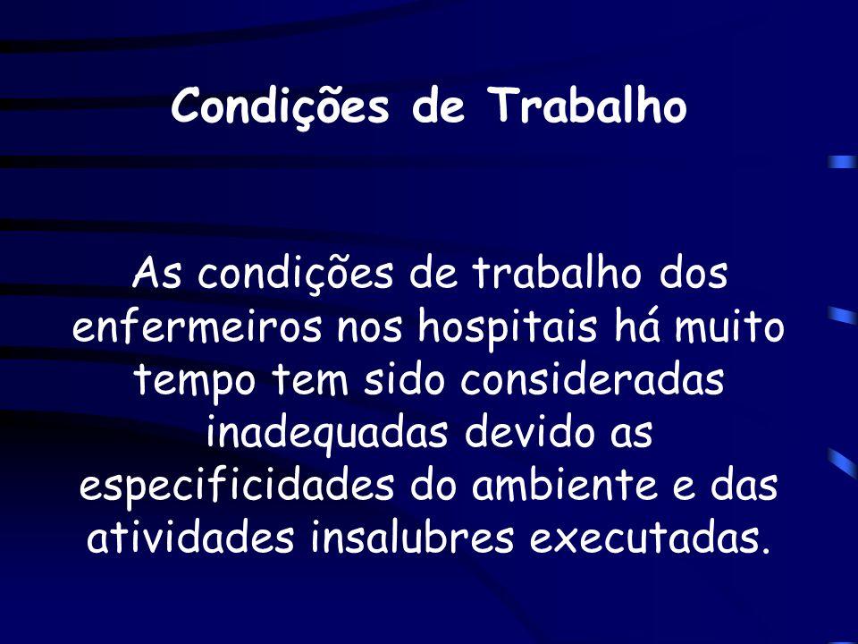 Condições de Trabalho As condições de trabalho dos enfermeiros nos hospitais há muito tempo tem sido consideradas inadequadas devido as especificidade