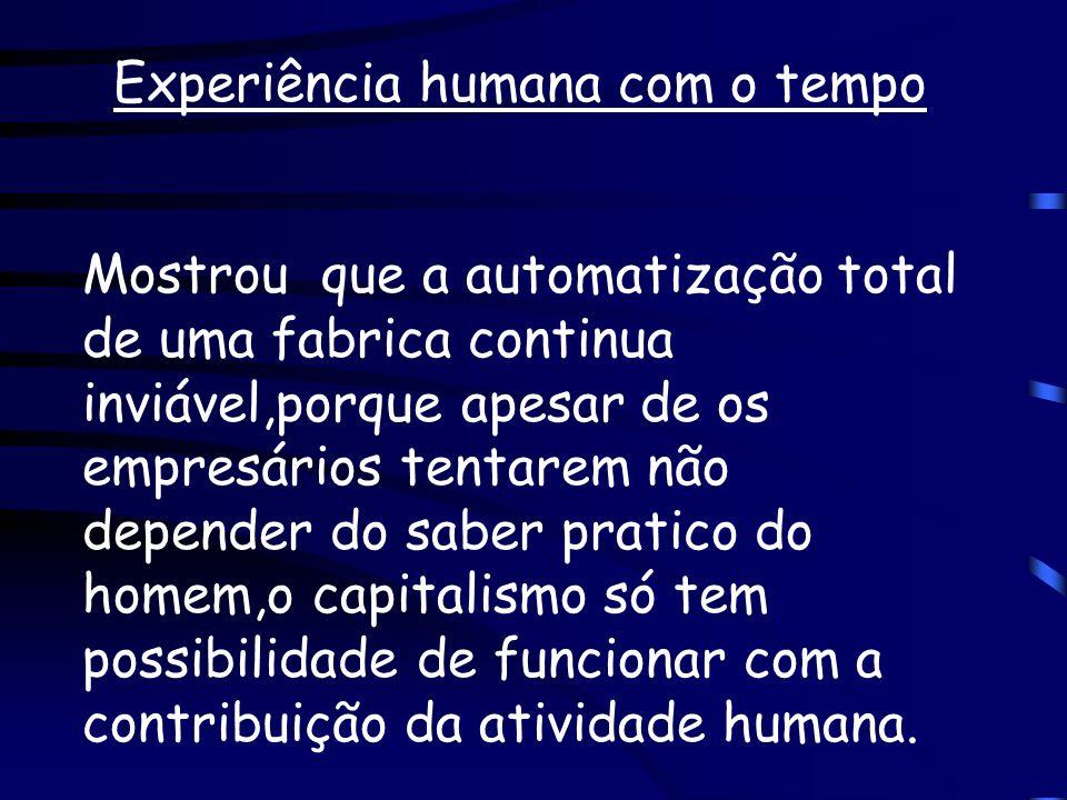 Experiência humana com o tempo Mostrou que a automatização total de uma fabrica continua inviável,porque apesar de os empresários tentarem não depende