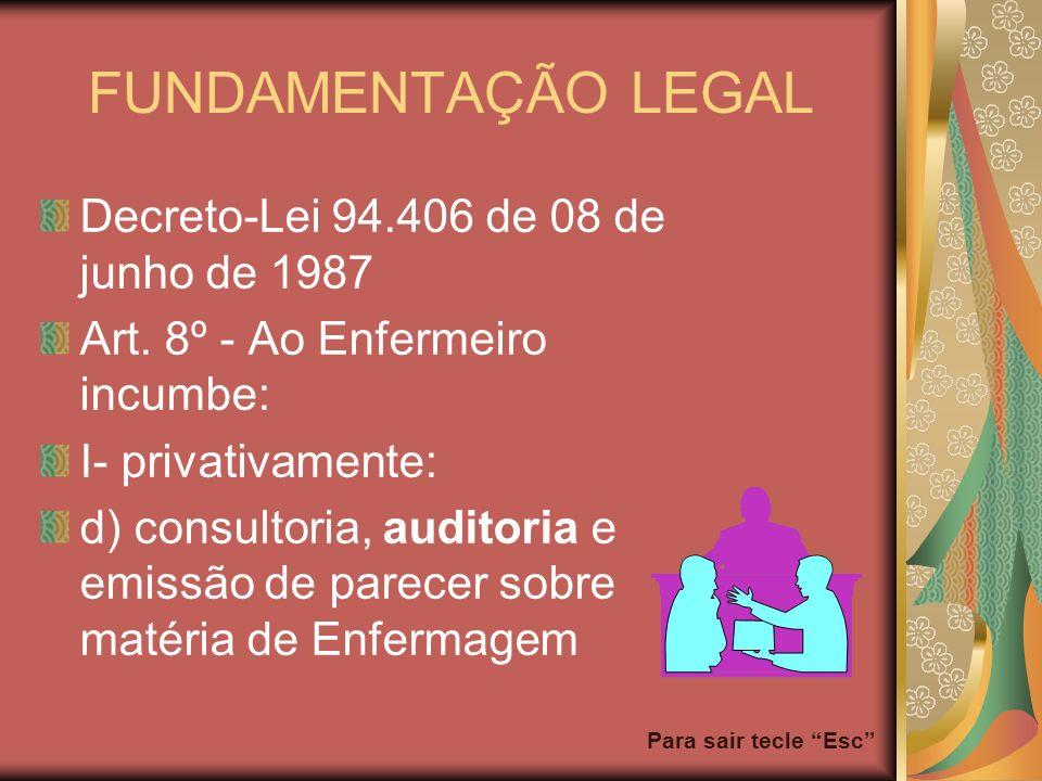 Para sair tecle Esc FUNDAMENTAÇÃO LEGAL Decreto-Lei 94.406 de 08 de junho de 1987 Art. 8º - Ao Enfermeiro incumbe: I- privativamente: d) consultoria,