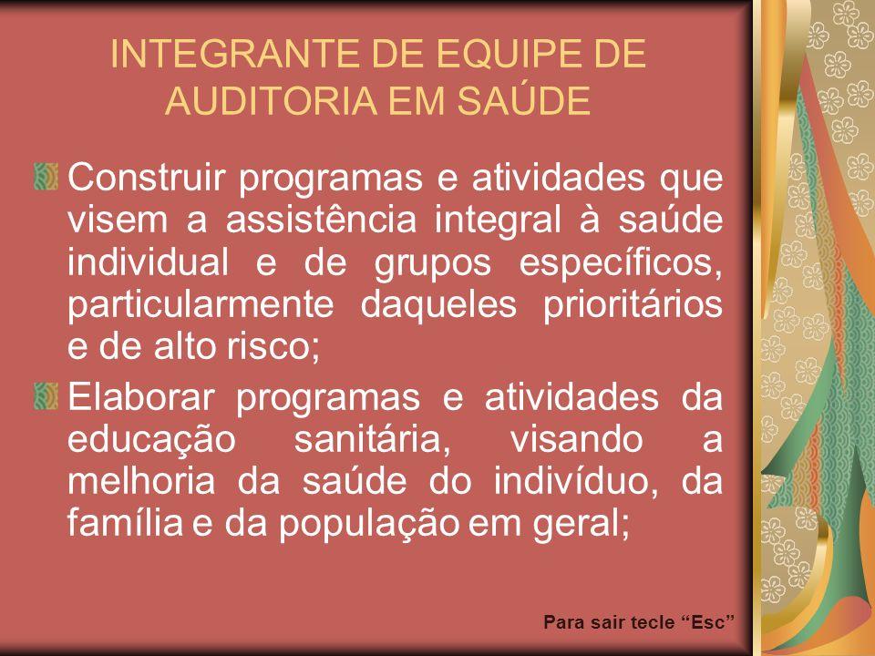 Para sair tecle Esc INTEGRANTE DE EQUIPE DE AUDITORIA EM SAÚDE Construir programas e atividades que visem a assistência integral à saúde individual e