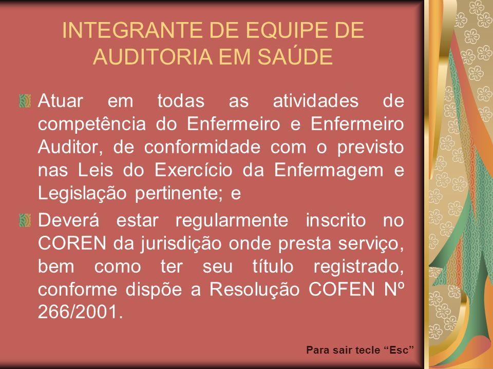 Para sair tecle Esc INTEGRANTE DE EQUIPE DE AUDITORIA EM SAÚDE Atuar em todas as atividades de competência do Enfermeiro e Enfermeiro Auditor, de conf