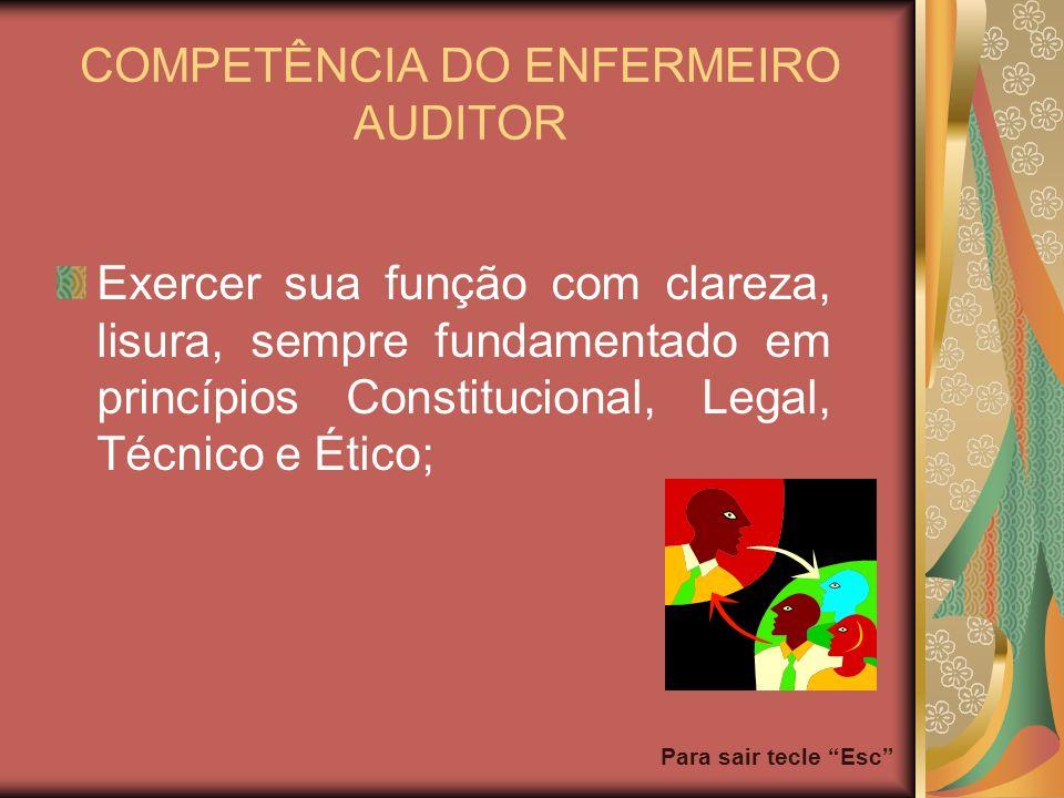 Para sair tecle Esc COMPETÊNCIA DO ENFERMEIRO AUDITOR Exercer sua função com clareza, lisura, sempre fundamentado em princípios Constitucional, Legal,