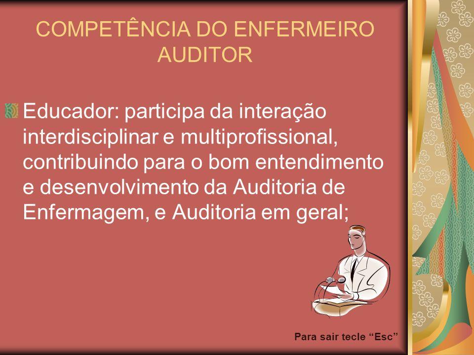 Para sair tecle Esc COMPETÊNCIA DO ENFERMEIRO AUDITOR Educador: participa da interação interdisciplinar e multiprofissional, contribuindo para o bom e