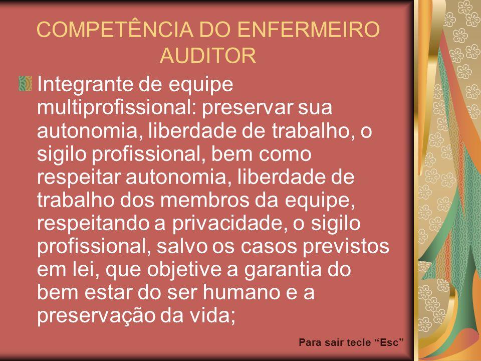 Para sair tecle Esc COMPETÊNCIA DO ENFERMEIRO AUDITOR Integrante de equipe multiprofissional: preservar sua autonomia, liberdade de trabalho, o sigilo