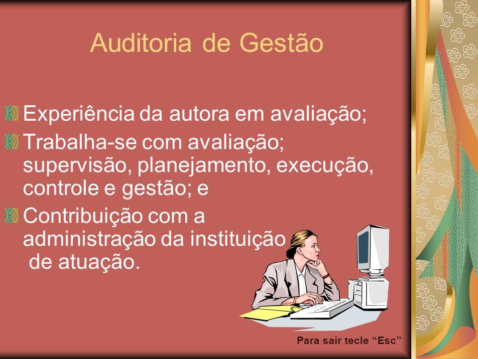 Para sair tecle Esc Auditoria de Gestão Experiência da autora em avaliação; Trabalha-se com avaliação; supervisão, planejamento, execução, controle e
