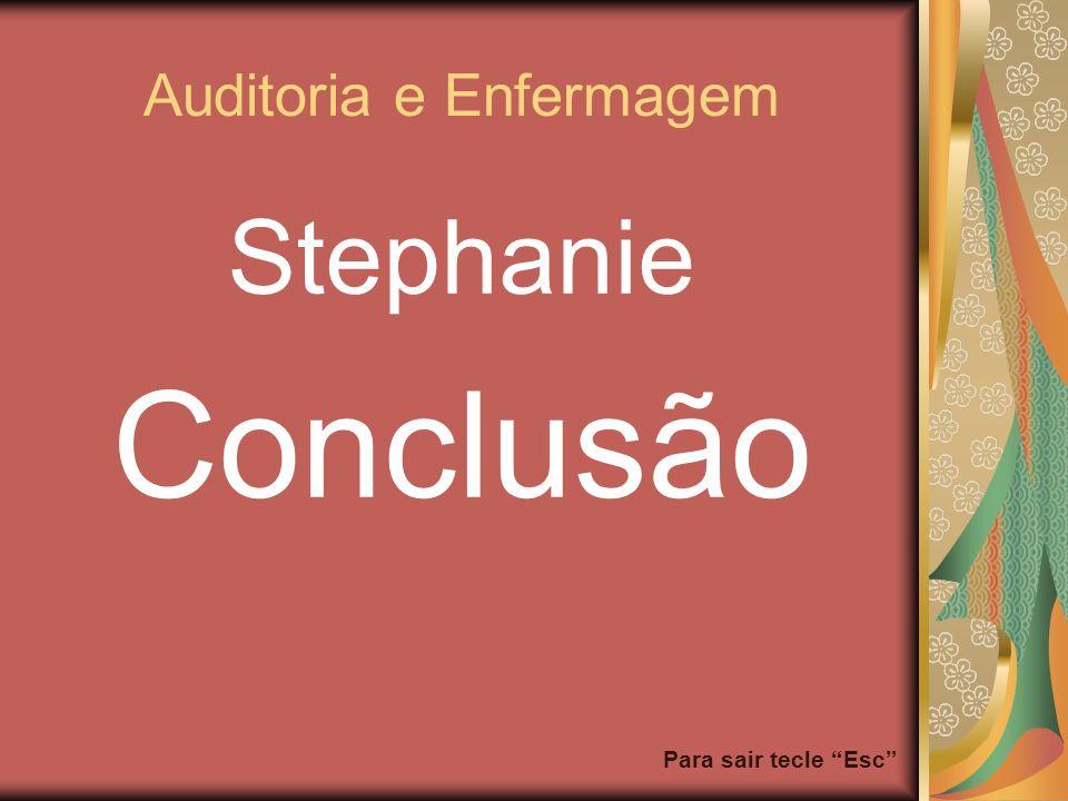 Para sair tecle Esc Auditoria e Enfermagem Stephanie Conclusão